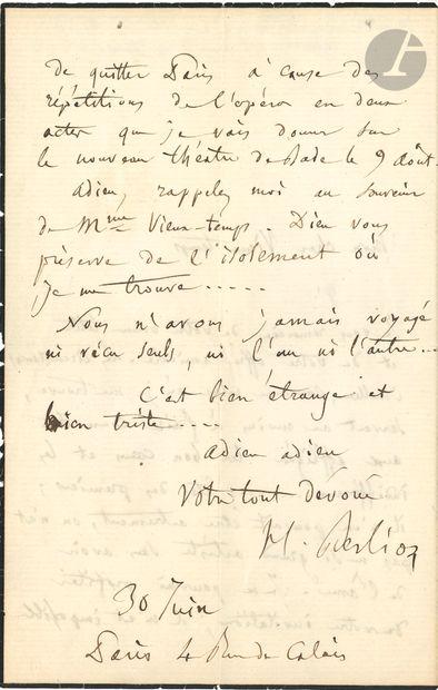 Hector BERLIOZ. L.A.S., Paris 30 juin [1862],...