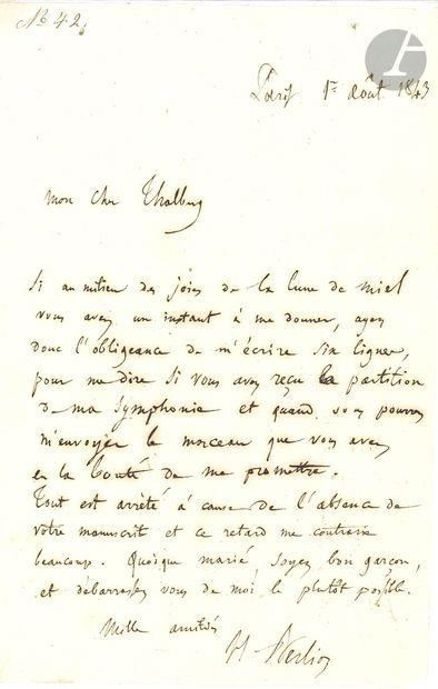 Hector BERLIOZ. L.A.S., Paris 1er août 1843,...