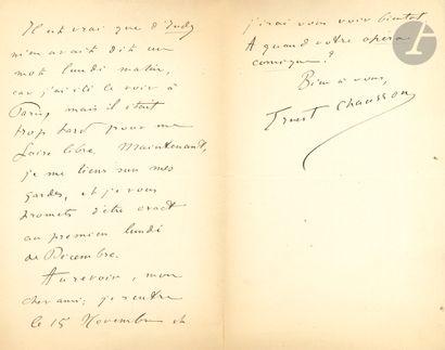 •[Emmanuel CHABRIER]. Ernest CHAUSSON (1855-1899)....