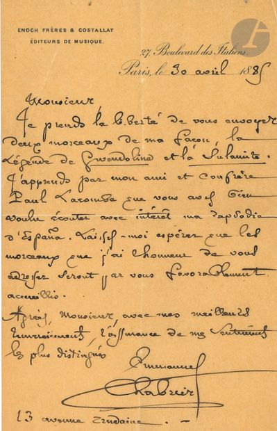 •Emmanuel CHABRIER. L.A.S., Paris 30 avril...