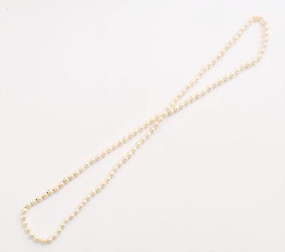 Sautoir en perles de culture baroques. Longueur...