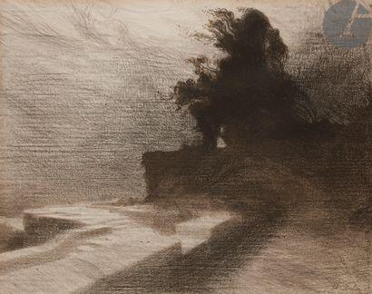 Charles Dulac (1865-1898) Le Vent, ou La Terrasse de Vézelay. 1892. Lithographie....