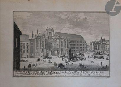Vienne. 2 sujets: - Vue d'une Place de Vienne, dite la Cour. Eau-forte par Johann...