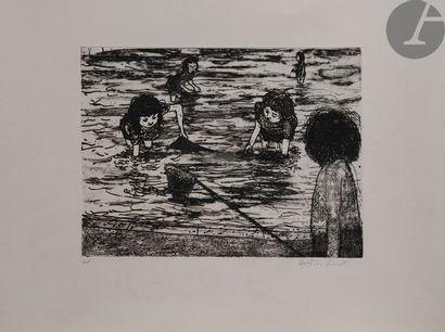 Alistair Grant (1925-1997) Enfants pêchant....