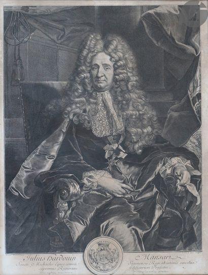 Gérard Edelinck (1640-1707) Portrait de Jules Hardouin-Mansart. 1704. Gravure au...