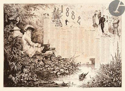 Félix Oudart (actif fin XIXe s.) Calendrier pour 1882. (Petite fille sur une balustrade)....