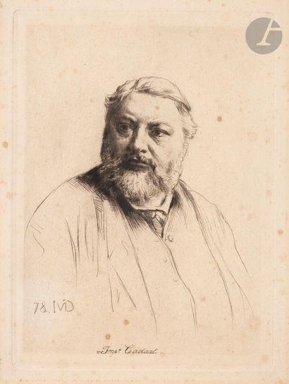 Marcellin Desboutin (1823-1902) Émile Zola, à la signature (d'après nature); Gustave...