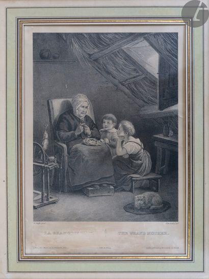 Divers Ensemble de 8 pl. : - Homme lisant à la bougie ; Moine en prière. Eau-forte....