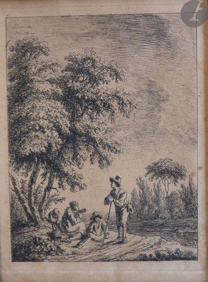 Franz Edmund Weirotter (1733-1771) Femme au puits ; Quatre figures déjeunant au...