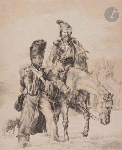 Théodore Géricault (1791-1823) (d'après) Retour de Russie. 1818. Lithographie (copie...