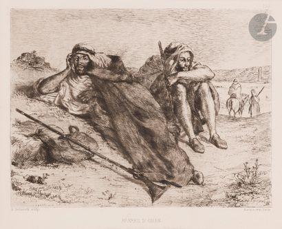 Eugène Delacroix (1798-1863) Arabes d'Oran. 1833. Eau-forte. 215x176. Delteil-Strauber...