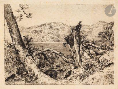 Jules Laurens (1825-1901) Le Lac de Némi....