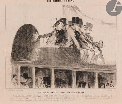 Honoré Daumier (1808-1879) Les Chemins de fer, pl. 1 à 16. 1843. Lithographie. Chaque...