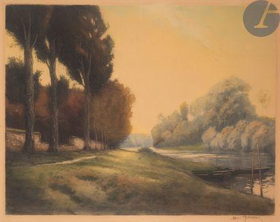 Henri Jourdain (1864-1931) Chemin de halage....
