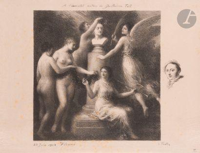 Henri Fantin-Latour (1836-1904) À Rossini. 1902-1903. Autographie. 455x415. Hédiard-Mason...