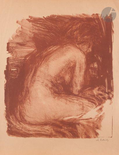 Albert de Belleroche (1864-1944) Femme nue assise de dos. Vers 1910. Lithographie....