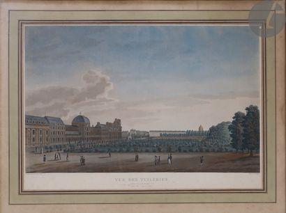 Michel François Damane-Demartrais (1763-1827) Vue des Tuileries. Aquatinte. À vue:...