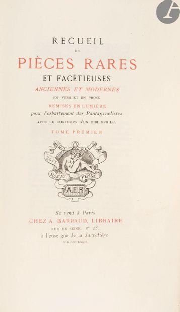 [FARCES]. Recueil de pièces rares et facétieuses...