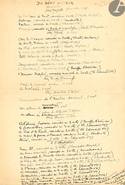 Sacha GUITRY (1885-1957). Recueil de manuscrits...
