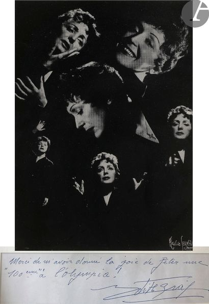 Édith PIAF (1915-1963). P.A.S.; 1page oblong in-12 sous une photographie (contretype;...