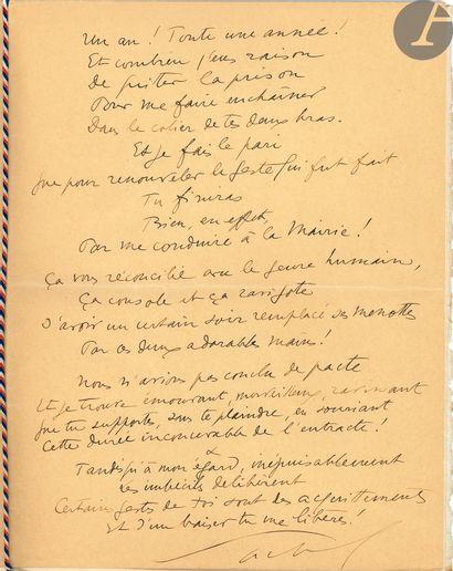 Sacha GUITRY (1885-1957). Poème autographe signé «Sacha», [1946]; 2pages in-4...
