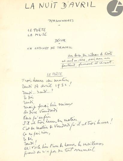 Sacha GUITRY (1885-1957). Manuscrit autographe,...