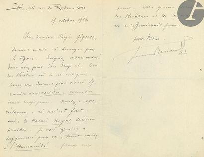 Jules RENARD (1864-1910). L.A.S., Paris 19...