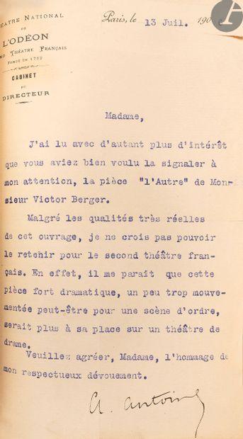 """ANTOINE (André). """"Mes souvenirs"""" sur le Théâtre-libre. Paris: Arthème Fayard &..."""