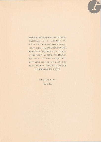 ACHARD (Marcel). Impromptu dit par l'auteur à propos des soixante-dix ans du maître....