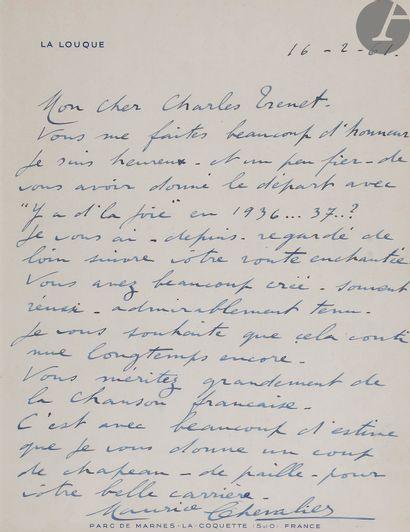 Maurice CHEVALIER (1888-1972). L.A.S., La...