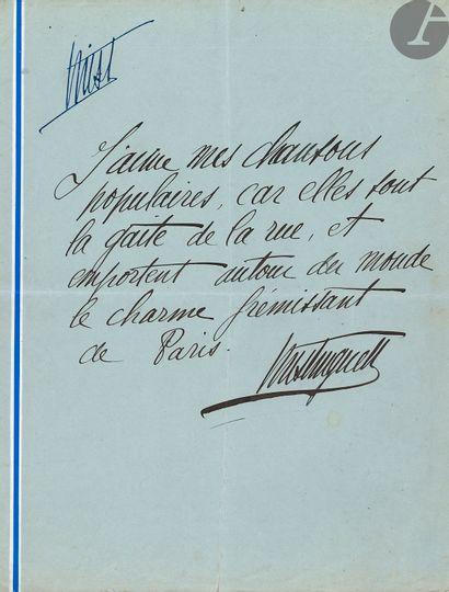 MISTINGUETT (1875-1956). Ensemble d'autographes, photographies, dessins, programmes,...