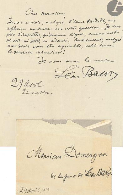 Léon BAKST (1866-1924). L.A.S. et manuscrit autographe, 29 avril 1919, à Jean-Gabriel...