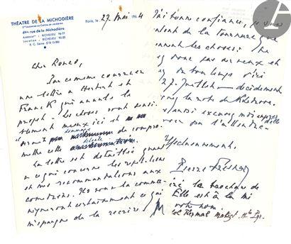 Pierre FRESNAY (1897-1975). 2 L.A.S., 2 cartes...