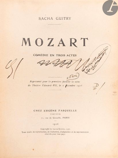 GUITRY (Sacha). Mozart. Paris: Eugène Fasquelle,...