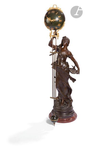Pendule en régule patiné, tôle peinte, bronze...