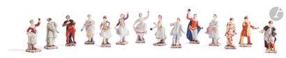Naples Ensemble de quatorze statuettes en...