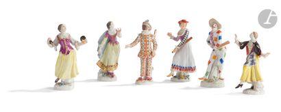Meissen Six statuettes en porcelaine à décor...