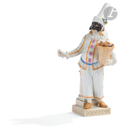 Meissen Statuette à décor polychrome en porcelaine...