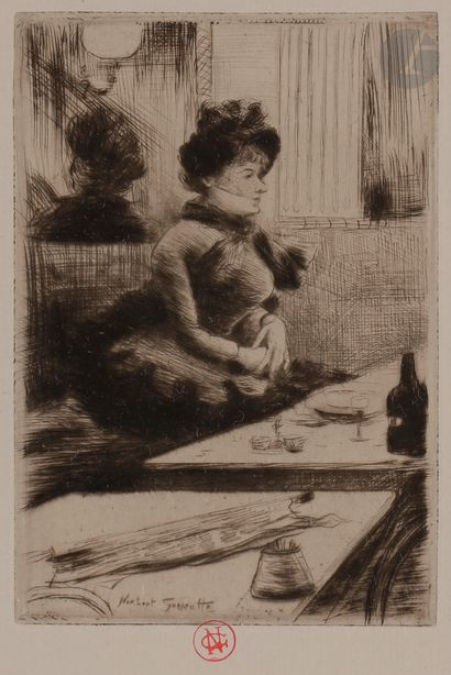 Norbert GOENEUTTE (1854-1894)  Au café  Pointe...