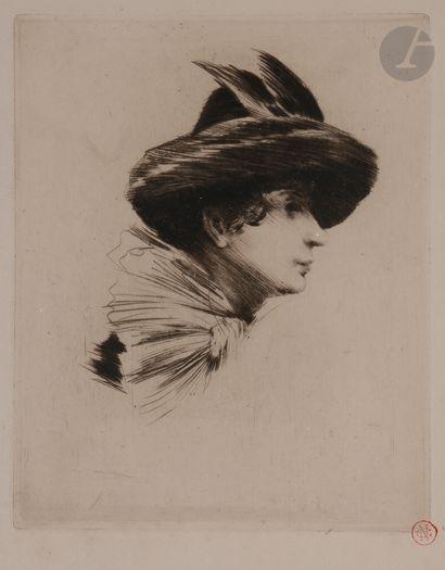 Norbert GOENEUTTE (1854-1894)  Anna Goeneutte au chapeau et à l'écharpe, avant 1888...