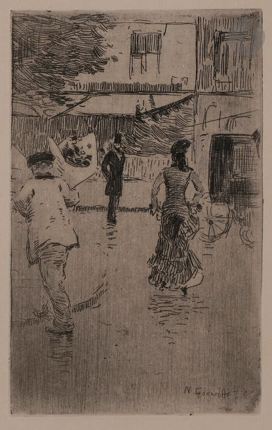 Norbert GOENEUTTE (1854-1894)  Jour de fête, temps de pluie, 1875  Eau-forte.  190...