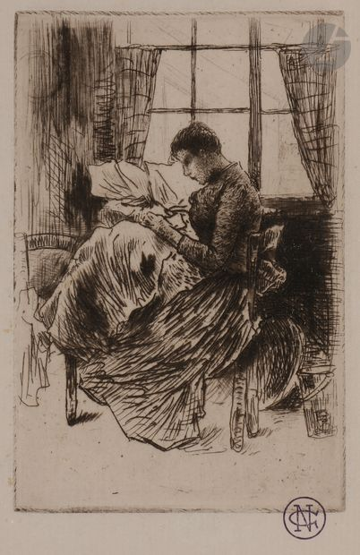 Norbert GOENEUTTE (1854-1894)  Nathalie Goeneutte cousant, avant 1888  Eau-forte,...