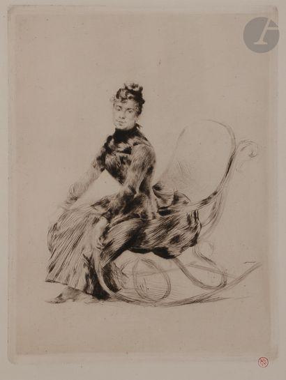 Norbert GOENEUTTE (1854-1894)  Rocking Chair (Bertha Lucas), vers 1887  Pointe sèche....