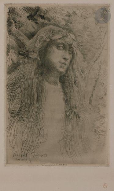 Norbert GOENEUTTE (1854-1894)  Ophélie, 1882  Pointe sèche.  290 x 185 mm.  (Duvivier...