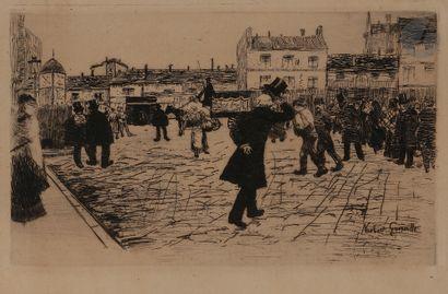 Norbert GOENEUTTE (1854-1894)  Le Dernier Salut, vers 1879  Eau-forte.  160 x 240...