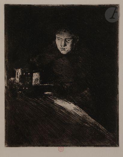 Norbert GOENEUTTE (1854-1894)  Marguerite Gachet à la lanterne, 1891-94  Eau-forte...