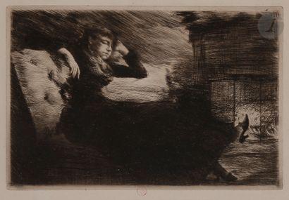 Norbert GOENEUTTE (1854-1894)  Somnolence au coin du feu, avant 1888  Eau-forte...