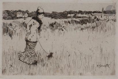 Norbert GOENEUTTE (1854-1894)  Femme dans la campagne parisienne, 1877  Eau-forte....
