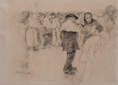 Norbert GOENEUTTE (1854-1894)  La Soupe du matin, 1881  Dessin à la mine de plomb...