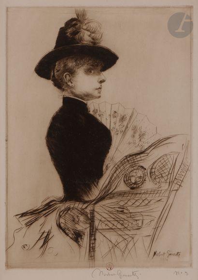 Norbert GOENEUTTE (1854-1894)  Femme à l'éventail...